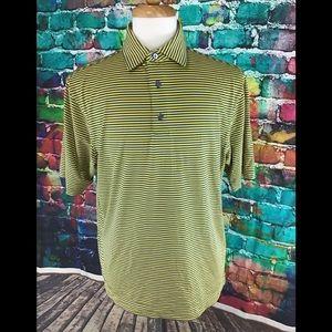 Footjoy Polo Shirt Size M Dri Fit Yellow Blue